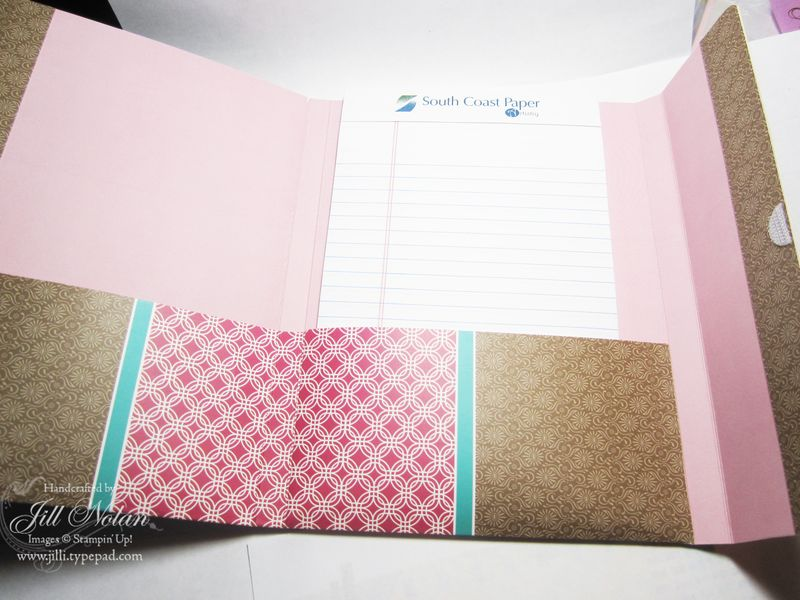 File folder note pad holder open