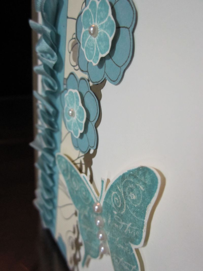 Sparkly blue butterfly close up